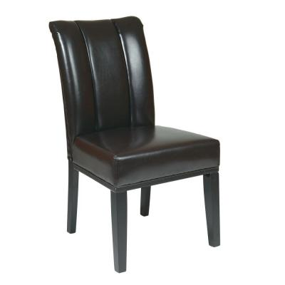 OSPdesigns Parsons Eco Leather Dining Chair with Back in Espresso