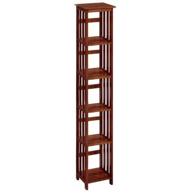 Home Decorators Collection Mission-Style 5-Open Shelf Tower in Walnut