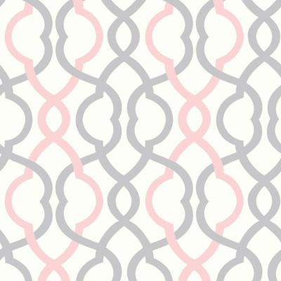The Wallpaper Company 8 in. x 10 in. Make Waves White/Pink/Grey Wallpaper Sample