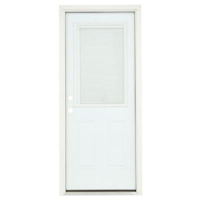 32 in. x 80 in. 1/2 Lite Primed Premium Steel Prehung Front Door with Mini-Blinds and Brickmould Product Photo