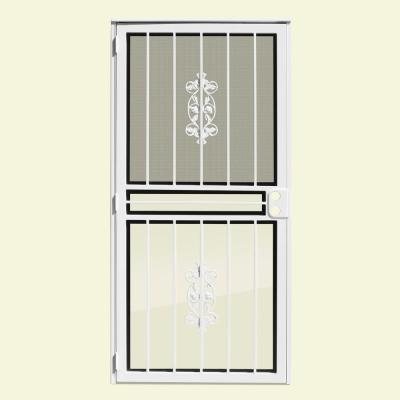 36 in. x 80 in. Rambling Rose Copperclad Recessed Mount All Season Security Door with Insect Screen and Glass Inserts Product Photo