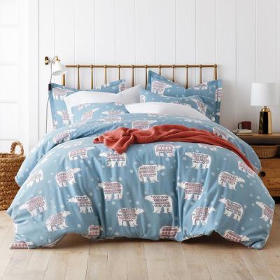 Fair Isle Bear Flannel Duvet Cover