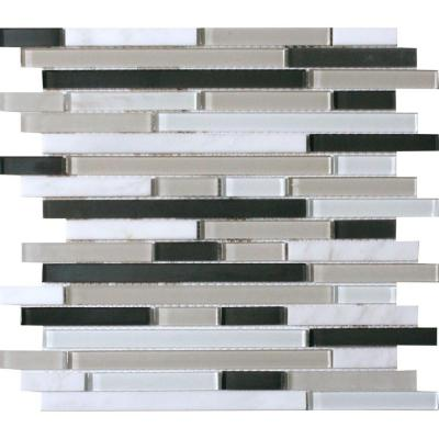 MS International Ivory Palace Interlocking 12 in. x 12 in. x 6mm Glass Stone Mesh-Mounted Mosaic Tile