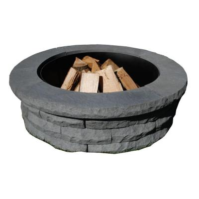 Ledgestone 47 in. Concrete Fire Pit Ring Kit Gray Product Photo