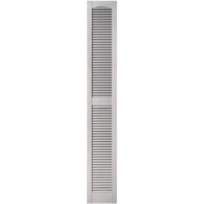 12 in. x 80 in. Louvered Vinyl Exterior Shutters Pair in #030 Paintable Product Photo