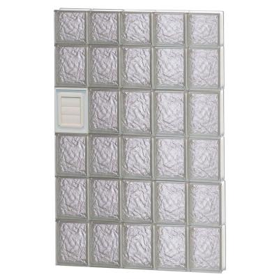28.75 in. x 44.5 in. x 3.125 in. Ice Pattern Glass Block Window with Dryer Vent Product Photo