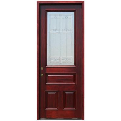 36 in. x 96 in. 3/4 Lite Stained Mahogany Wood Prehung Front Door with 6 in. Wall Series and 8 ft. Height Series Product Photo