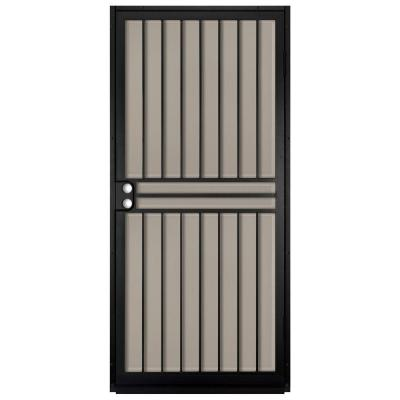 Unique Home Designs 36 in. x 80 in. Guardian Black Surface Mount Outswing Steel Security Door with Tan Perforated Aluminum Screen