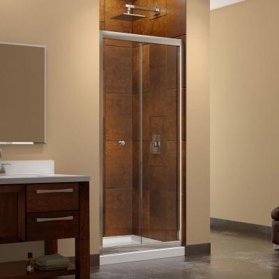 Butterfly 36 in. x 36 in. x 74.75 in. Framed Sliding Shower Door in Chrome with Center Drain White Acrylic Base Product Photo