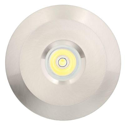LED Bright White Mini Recessed Puck Light with 2.75 in. Brushed