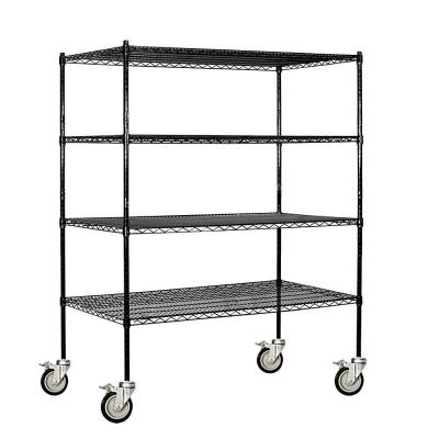 Salsbury Industries 9500M Series 60 in. W x 69 in. H x 24 in. D Industrial Grade Welded Wire Mobile Wire Shelving in Black