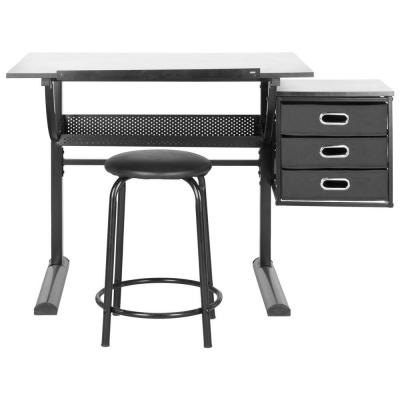 Harvard Writing Desk with Stool in Black and White Product Photo