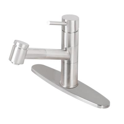 VIGO Branson Single-Handle Pull-Out Sprayer Kitchen Faucet with Deck Plate in Stainless Steel