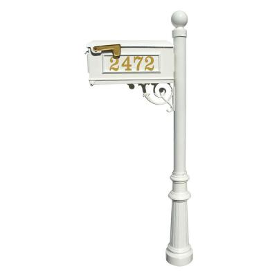 Lewiston Mailbox Collection with Post, Decorative Fluted Base and Ball Finial in White Product Photo