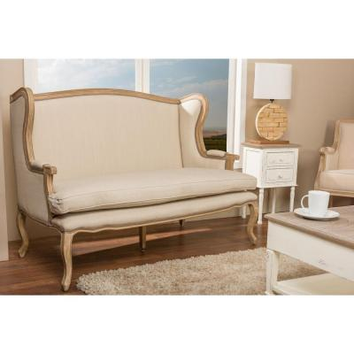 Baxton Studio Oreille French Inspired Beige Fabric Upholstered Loveseat