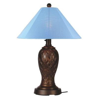 Patio Living Concepts Monterey 34 in. Bronze Outdoor Table Lamp with Sky Blue Shade