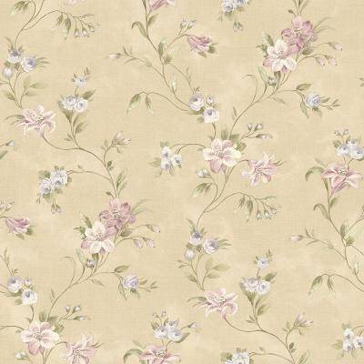 8 in. x 10 in. Lorraine Lily Purple Floral Wallpaper Sample