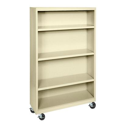 Mobile 4-Shelf Steel Bookcase in Putty Product Photo