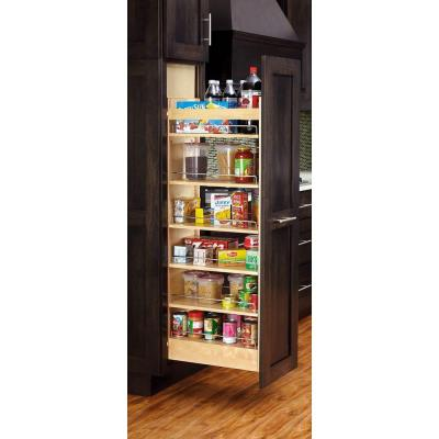 58 in. H x 14 in. W x 22 in. D Wood Pull-Out Tall Cabinet Pantry Organizer Product Photo
