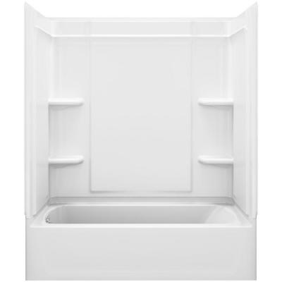 STERLING Ensemble Medley 60 in. x 31.125 in. x 74.25 in. 4-piece Tongue and Groove Tub Wall in White