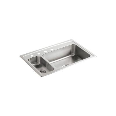 KOHLER Toccata Drop-In Stainless Steel 33 in. 4-Hole Double Basin Kitchen Sink