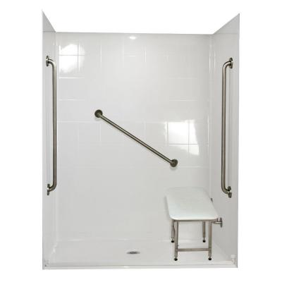 Standard Plus 36 37 in. x 60 in. x 78 in. Barrier Free Roll-In Shower Kit in White with Center Drain Product Photo