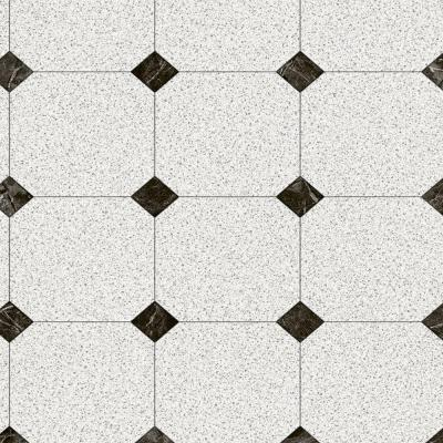 Black and White Decorative Paver 12 ft. Wide Vinyl Sheet