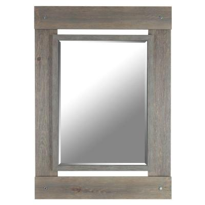 43 in h x 30 in w grey wash real wood beveled mirror for Mirror 20 x 30