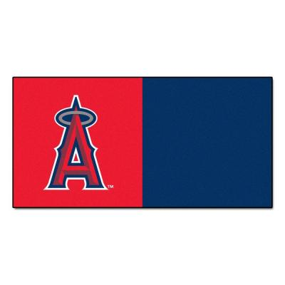 FANMATS MLB - Los Angeles Angels Red and Blue Nylon 18 in. x 18 in. Carpet Tile (20 Tiles/Case)