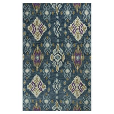 Touch of Ikat Blue/Cream 7 ft. 9 in. x 9 ft.