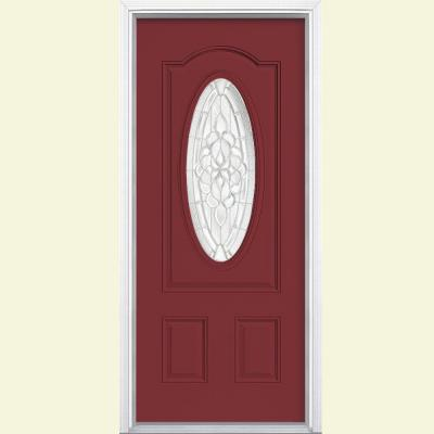 36 in. x 80 in. Oakville 3/4 Oval Lite Painted Steel Prehung Front Door with Brickmold Product Photo