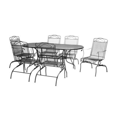null Black Wrought Iron 7-Piece Action Patio Dining Set-DISCONTINUED