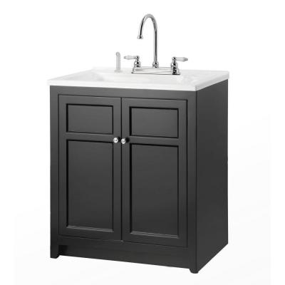 Conyer 30 in. Laundry Vanity in Black and Premium Acrylic Sink