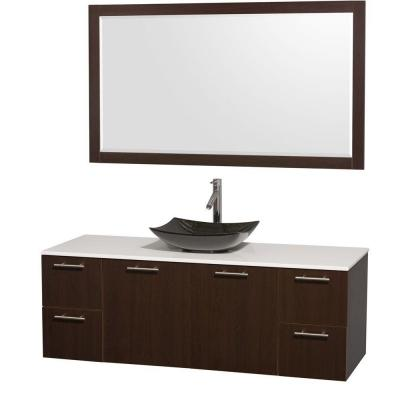 Amare 60 in. Vanity in Espresso with Solid-Surface Vanity Top in