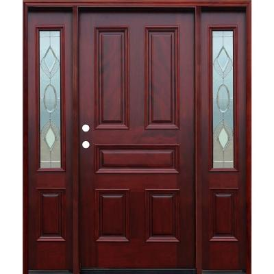 66in.x80in. Strathmore Traditional 5-Panel Stained Mahogany Wood Prehung Front Door w/6in Wall Series & 12in Sidelites Product Photo