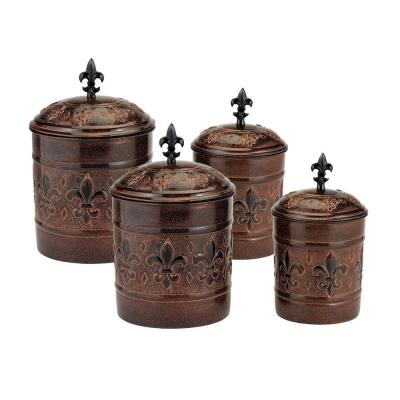 Old Dutch Versailles Canister with Fresh Seal Covers (4-Piece)