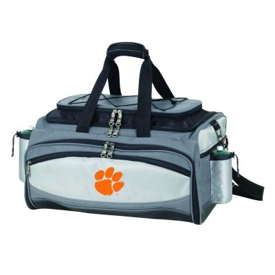 Picnic Time Vulcan Clemson Tailgating Cooler and Propane Gas Grill Kit with Embroidered Logo