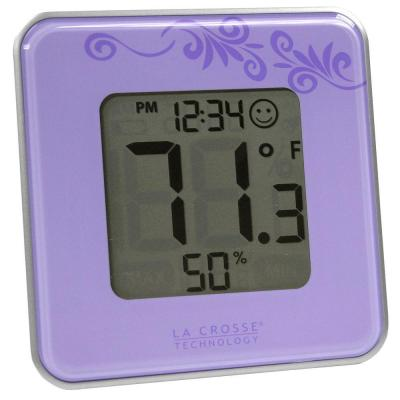 La Crosse Technology Digital Thermometer and Hygrometer Purple
