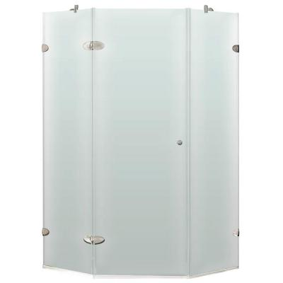 Vigo 34 in. x 73 in. Frameless Neo-Angle Shower Enclosure in Brushed Nickel and Frosted Glass