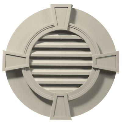 30 in. Round Gable Vent in Champagne with Keystones Product Photo