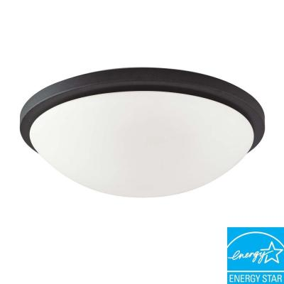 Green Matters 4-Light Textured Black Dome Flush Mount