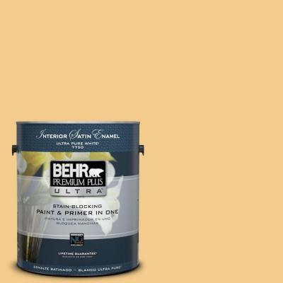 BEHR Premium Plus Ultra Home Decorators Collection 1-gal. #HDC-CL-16 Beacon Yellow Satin Enamel Interior Paint