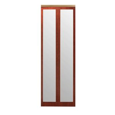 72 in. x 96 in. Mir-Mel Cherry Mirror Solid Core MDF Interior Closet Bi-fold Door with Gold Trim Product Photo