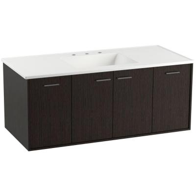 KOHLER Jute 48 in. Vanity in Satin Oak with Vitreous China Vanity Top in White
