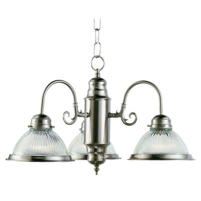 Bel Air Lighting Cabernet Collection 3-Light Brushed Nickel Chandelier with Clear Ribbed Shade