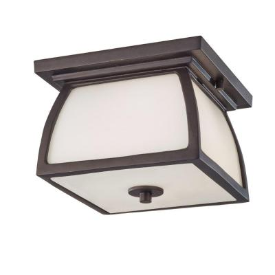 Feiss Wright House 1-Light Outdoor Oil Rubbed Bronze Flush Mount