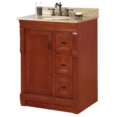 Foremost Naples 25 in. W x 22 in. D x 34 in. H Vanity in Warm Cinnamon with Granite Vanity Top in Beige and Single Bowl in White