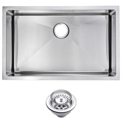 Water Creation Undermount Small Radius Stainless Steel 30x19x10 0-Hole Single Basin Kitchen Sink with Strainer in Satin Finish
