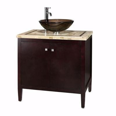 Home Decorators Collection Argonne 31 in. W x 22 in. D Vanity in Espresso with Marble Vanity Top in Brown with Basin