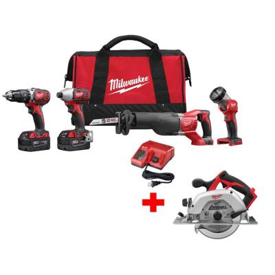 Milwaukee M18 18-Volt Lithium-Ion Hammer Drill/Impact/SAWZALL/Light Combo Kit (4-Tool) W/ Free M18 6-1/2 in. Circular Saw